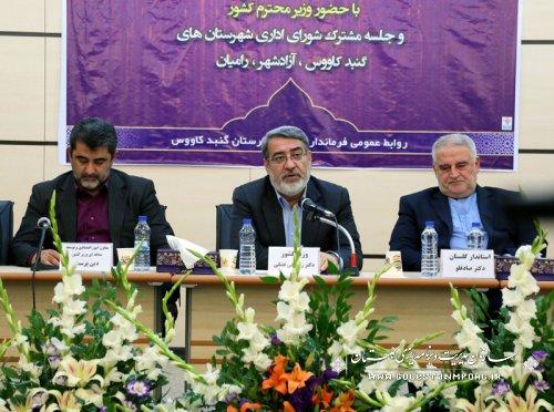 استاندار گلستان در شورای اداری شهرستان های گنبدکاووس، آزادشهر و رامیان