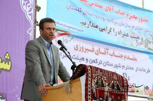 افتتاح متمرکز پروژه های عمرانی، اقتصادی و اشتغالزای شهرستان ترکمن با حضور مهندس پیش قدم