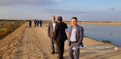 بازدید دکتر روزبهان از آب بندان محمد آباد گرگان