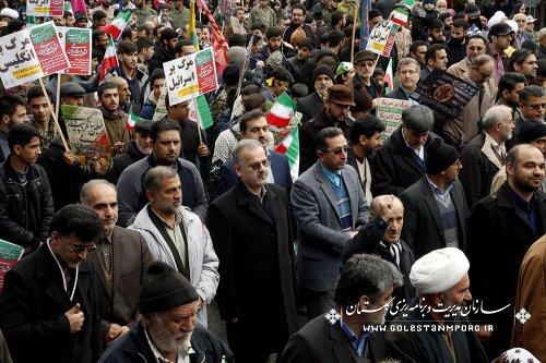 گزارش تصویری حضور همکاران سازمان مدیریت وبرنامه ریزی استان گلستان در راهپیمایی بزرگ جشن پیروزی انقلاب