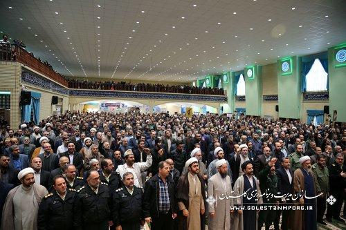 آقای روزبهان رئیس سازمان مدیریت و برنامه ریزی استان و جمعی از همکاران در راهپیمایی (اقتدار و امنیت کشور)