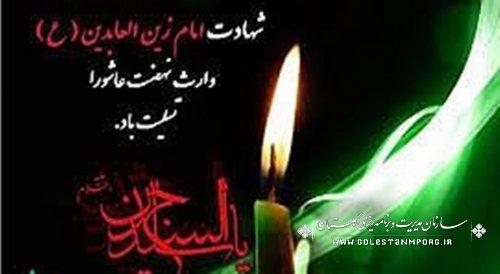 پیام تسلیت رئیس سازمان به مناسبت شهادت امام زین العابدین