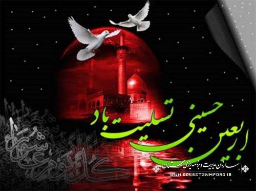 پیام تسلیت رئیس سازمان به مناسبت فرارسیدن  اربعین حسینی