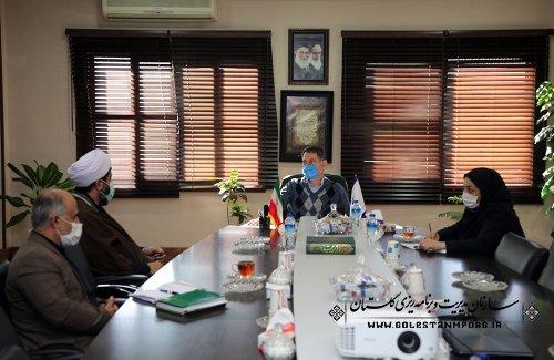 جلسه رئیس سازمان مدیریت و برنامه ریزی استان گلستان با مدیرکل اوقاف و امورخیریه استان