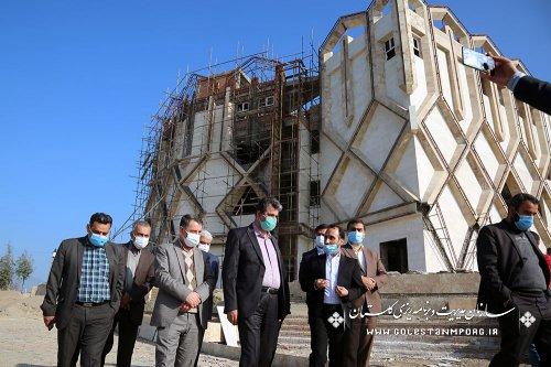 بازدید رئیس سازمان مدیریت و برنامه ریزی استان گلستان از پیشرفت فیزیکی هتل آویشن مینودشت