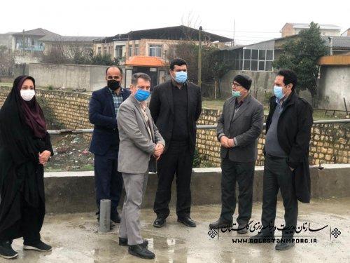 بازدید رئیس سازمان مدیریت و برنامه ریزی استان گلستان از پروژه دیوارسازی رودخانه نوکنده