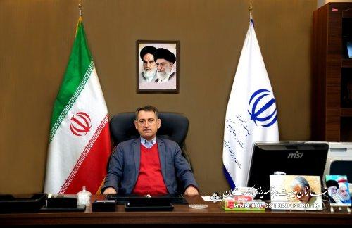 پیام تبریک رئیس سازمان مدیریت و برنامه ریزی استان گلستان به مناسبت 12 فروردین روز جمهوری اسلامی ایران